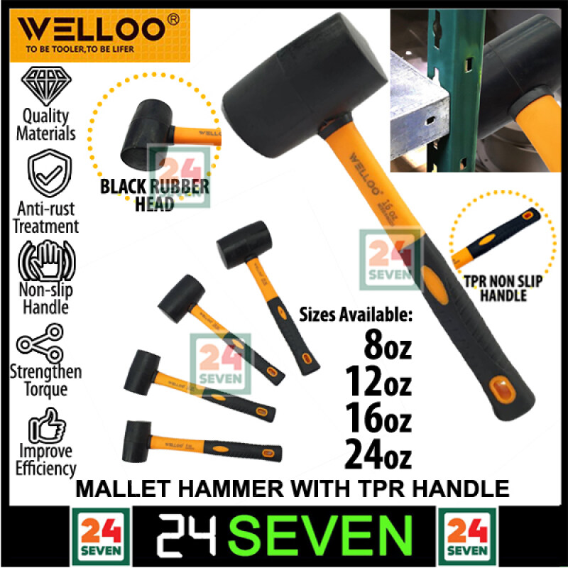 Welloo Heavy Duty Rubber Mallet Hammer Double Face Rubber Hammer With High Quality TPR Handle Mallet Hammer Size 8oz 12oz 16oz 24oz / Double Face Rubber Hammer / Tukul Getah