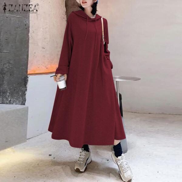 Đầm Kaftan Phong Cách Hàn Quốc ZANZEA Cho Nữ, Đầm Đầm Maxi Dài Lông Cừu Dày Ấm Phong Cách Sang Trọng, Áo Thể Thao Có Mũ Trơn