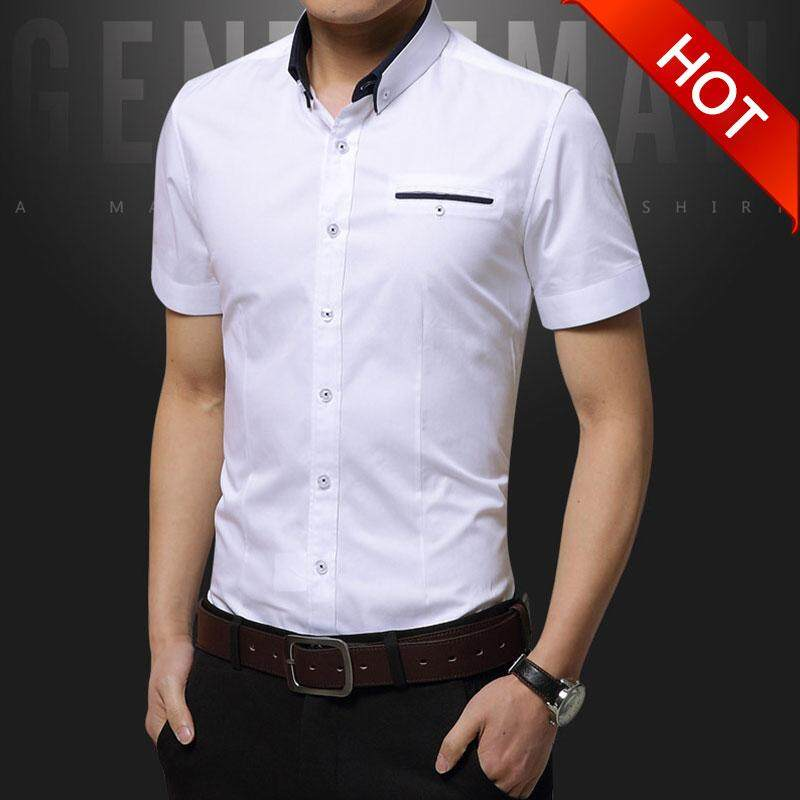 Victory New Man Pure Cotton Short Sleeve Lapel Shirt Casual Fashion Business Affairs Office Formal Shirt(pink) By Dream Shopping Mall.