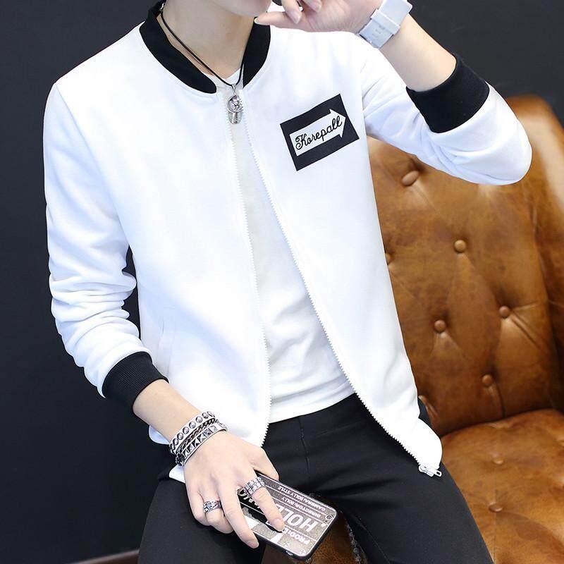 ผู้ชายแจ็คเก็ตน้ำแบรนด์กีฬาเสื้อกันหนาวสีขาวท็อปส์เกาหลีคลื่นนักเรียนเสื้อคาร์ดิแกน.
