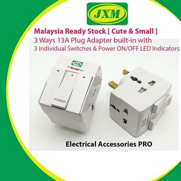 JXM Cute & Small 3Way 13A Plug Adapter built-in with 3 individual Switches and Power ON/OFF LED Indicators JXPA103MS