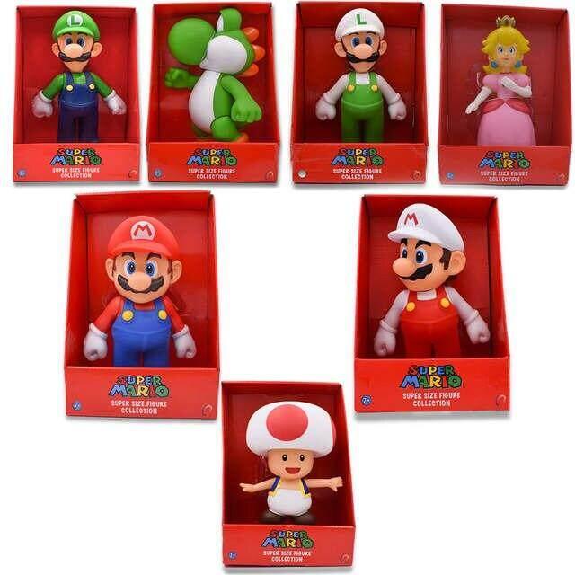 7Styles 23cm Mario Bros Figure Yoshi Peach Princess Toad PVC Action Figure Hot Toys For Children Mario Luigi
