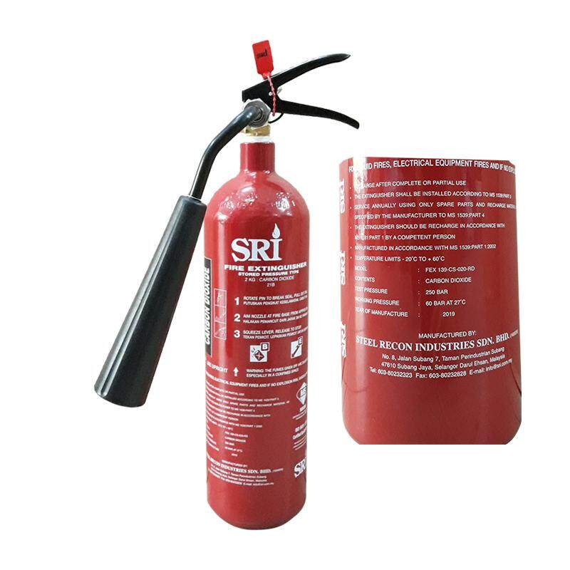 Ezspace Sri 2kg CO2 Carbon Dioxide Fire Extinguisher Sirim Approved Year 2019 Production Suitable For Restaurant, Electrical Board Server Room Pemadam Api