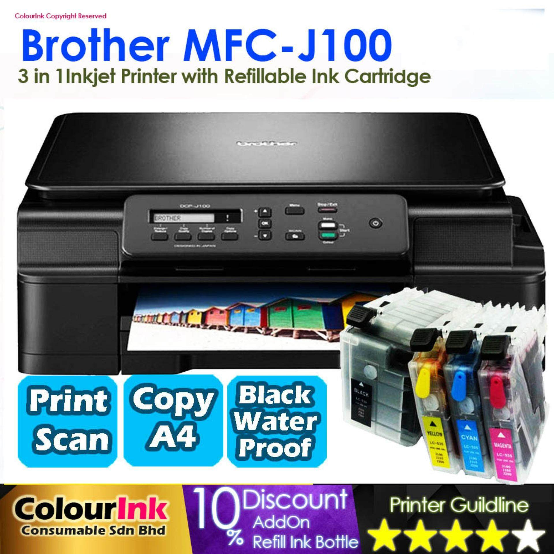 Brother DCP-J100 Inkjet Printer with Refillable Ink Cartridge Print Scan  Copy (Similar DCP-T310 L360 G2010) J100