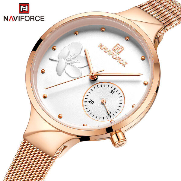 NAVIFORCE Fashion Watches for Women Luxury Rose Gold Elegant Ladies Quartz Wrist watch Female Waterproof Clock Malaysia