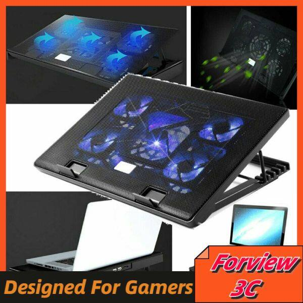 Forview3C S500 Laptop Cooling Cooler Pad USB 5 mute Fans Slim Portable Lightweight Folding Stand Dual USB in one out LED cool light Malaysia