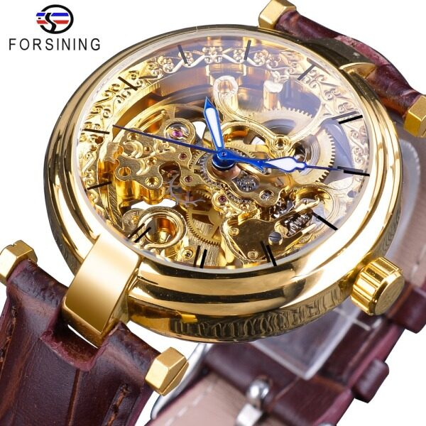 Hot Forsining Gold Watch Fashion Blue Hands Men and Women Automatic Automatic Winding Brown Leather Luminous Hands from Top Luxury Brands. Ladies gifts Malaysia