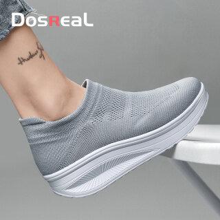 DOSREAL Phụ Nữ Giày Nêm Gót Chân Hàn Quốc Trên Bán Giày Thể Thao Nữ Phối Lưới Màu Đen, Giày Thể Thao Thời Trang Nữ Thường Ngày Đi Bộ Nền Tảng Giày, Kích Thước Lớn 42 thumbnail
