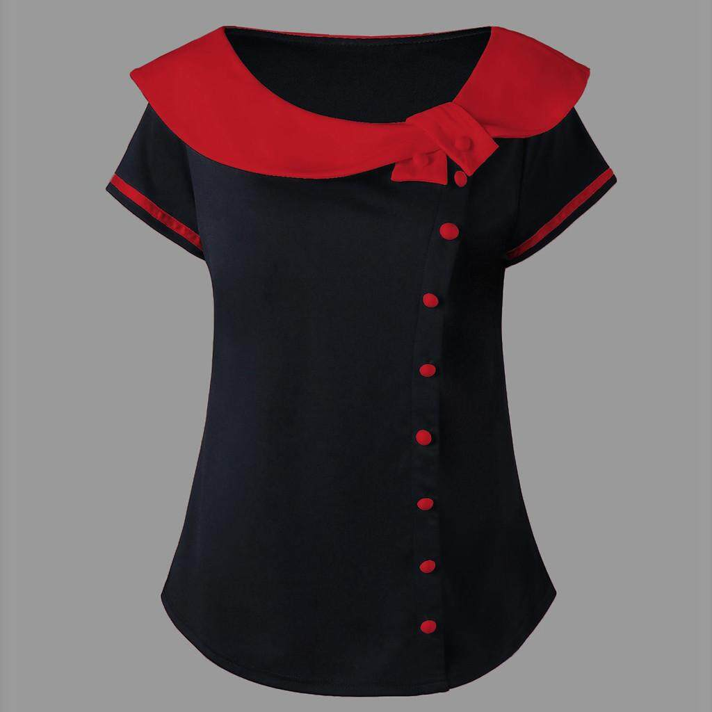 01d1d1d68201 Fashion Women Short Sleeve Plus Size Two Tone Peter Pan Collar T-shirt Tops  Casual