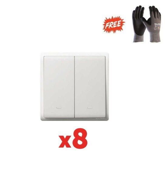 1 box (8pcs) - Schneider Pieno 2 Gang 1 Way Switch, White - (Free ATG PPE safety glove L Size)