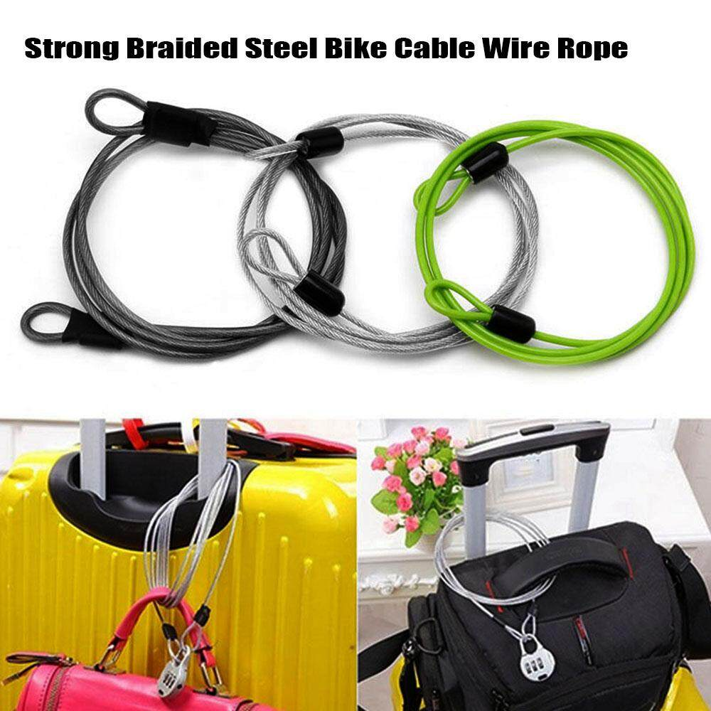2 Double Security Loop Cables Bike Braided Steel Chain Lock Door Safety Wire 2m