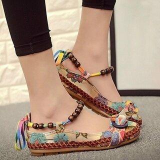 Giày Đế Bằng Nữ Mũi Tròn Đính Cườm Thắt Dây Dân Tộc Thoải Mái, Giày Lười Nhiều Màu Sắc thumbnail