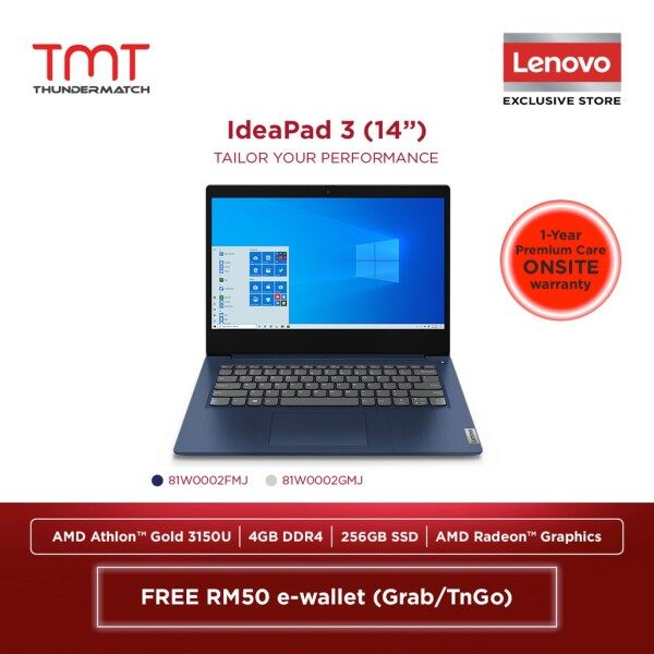 Lenovo IdeaPad 3 14ADA05 (81W0002FMJ)(Blue)/(81W0002GMJ)(Grey)|Athlon 3150U|4GB 256GB SSD|14.0|W10 - FREE Backpack Malaysia