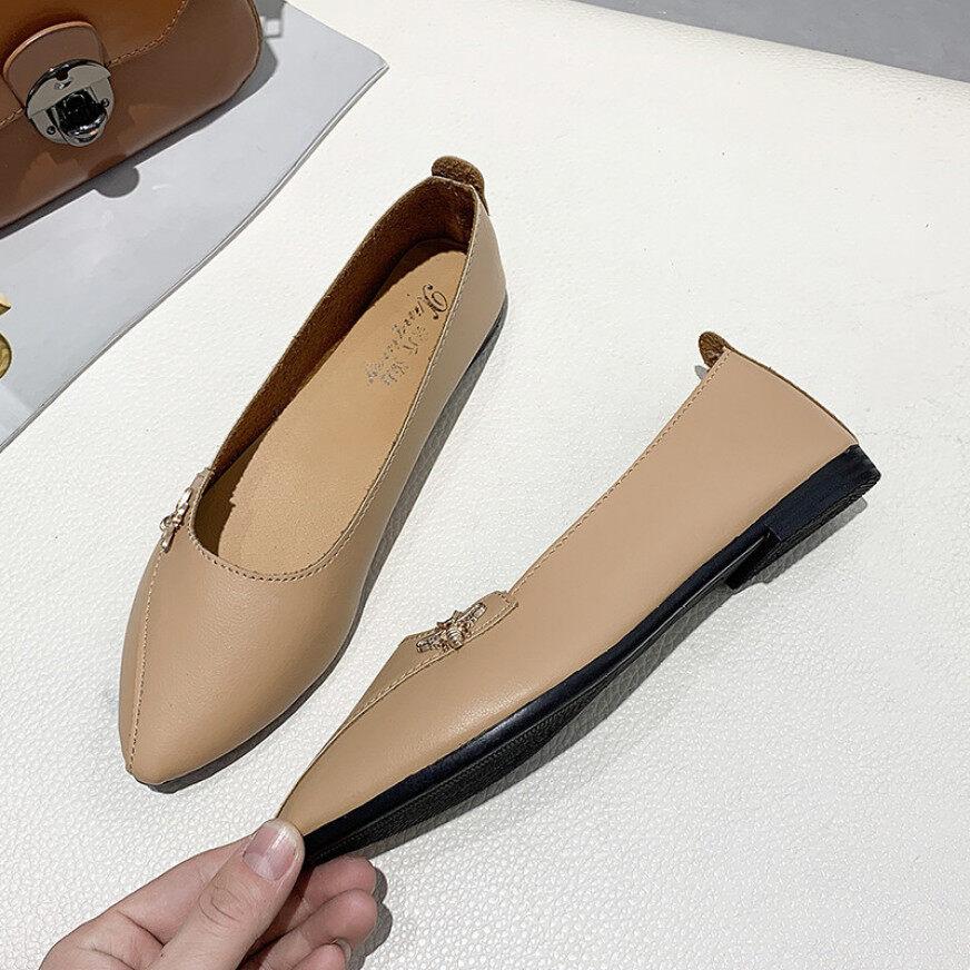 Giày Đậu Hà Lan Nữ 2020 Mới Mùa Xuân Mũi Nhọn Giày Cổ Tích Giày Đế Bệt Miệng Nông Nữ Hoang Dã Nơ Giày Lười Đế Bằng Mùa Hè giá rẻ
