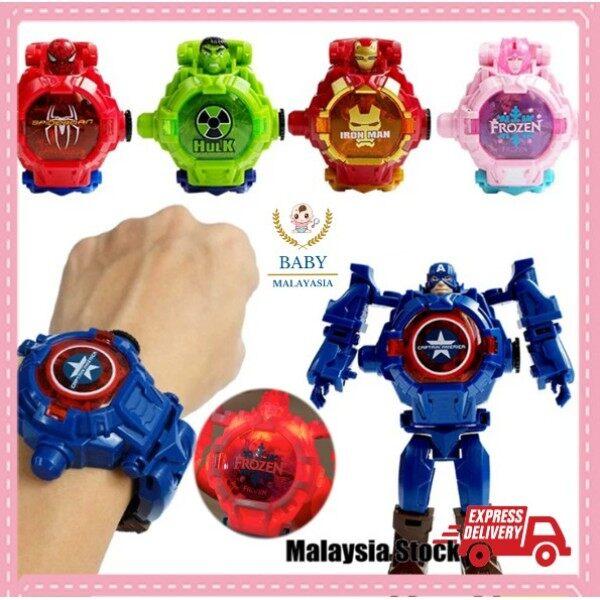 Mainan Budak Transformer Robot Watch With Lights Kid watch Robot watch Avengers  Spiderman IronMan Frozen Ultraman jam Malaysia