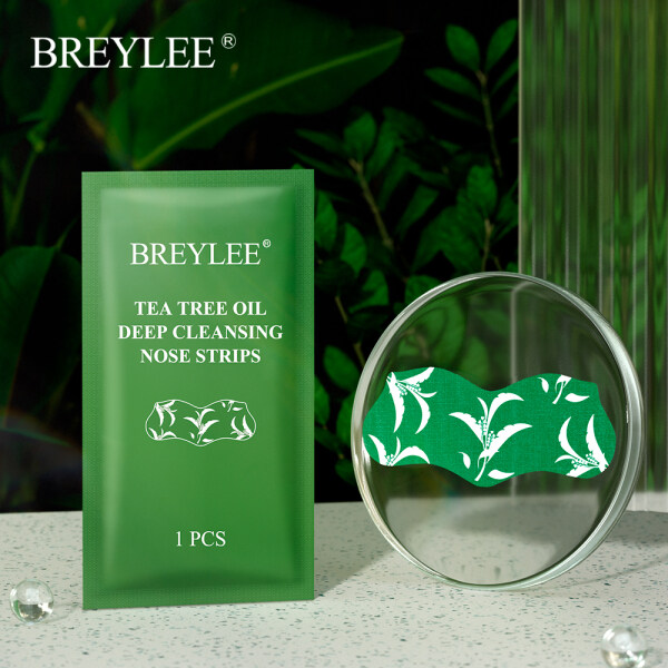 BREYLEE Blackhead Remover Mask Tea Tree Oil Deep Cleansing Nose Strip 1PCS