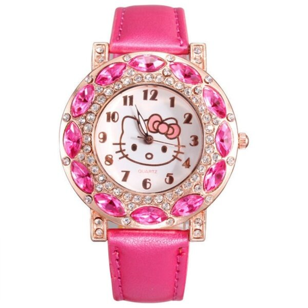 Hello Kitty Kids Girl Rhinestone Arabic Numerals Faux Leather Band Quartz Watch Malaysia