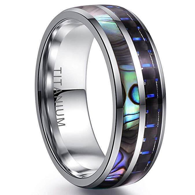 10mm Men Blue Tungsten Carbide Black Carbon Fiber Inlay Groove Wedding Band Ring
