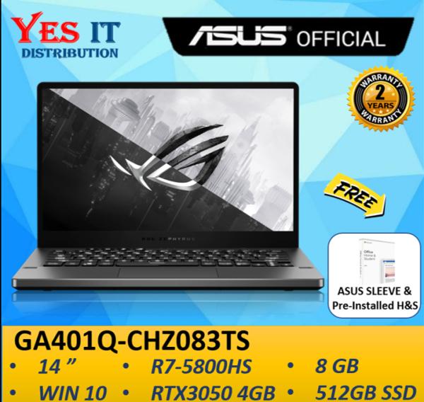 ASUS ZEPHYRUS G14 GA401Q-CHZ083TS GAMING LAPTOP ( R7-5800HS, 8GB, 512GB SSD, 14 144Hz, RTX 3050 4GB, 2YW, W10+HS ) FREE SLEEVE Malaysia