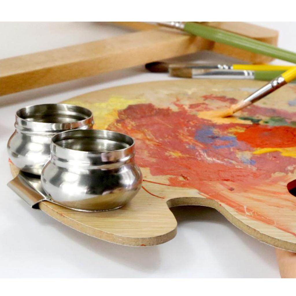 Stainless Steel Single Hole Dipper Painting Palette Cup Clip with Lid