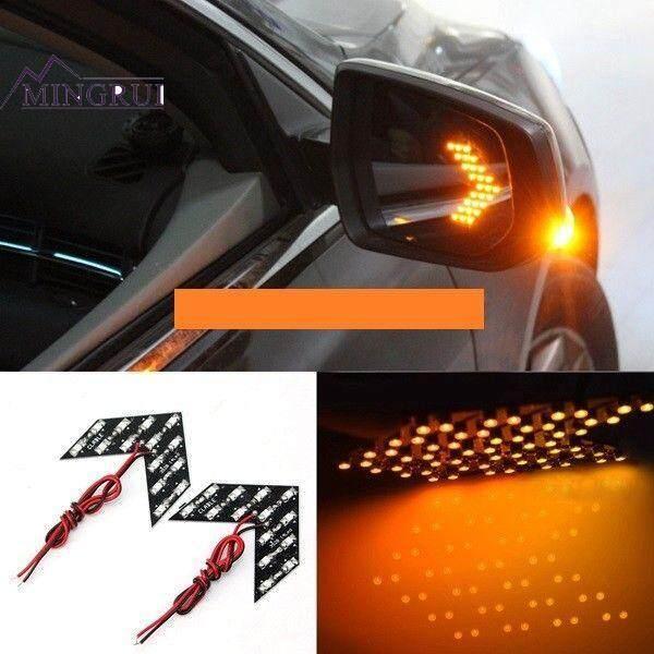 Mingrui Mobil 2 Pcs 14SMD Panah Kuning Lampu Kaca Spion Lampu Sinyal Giliran Universal LED Sepeda