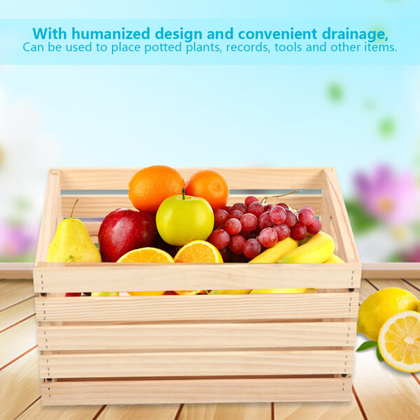 [salmopho+]Household Pine Wood Storage Rack Pot Record Tools Display Storage Crate Box 45x31x24cm( ) Singapore
