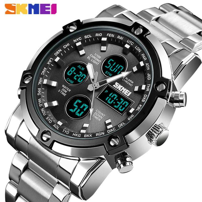 SKMEI Mens Brand Watch Stainless Steel Quartz Clock Multi-Time Zone LED Electronic Analog Digital Mens Watch Military Outdoor Leisure Sports Waterproof Mens Watch Malaysia