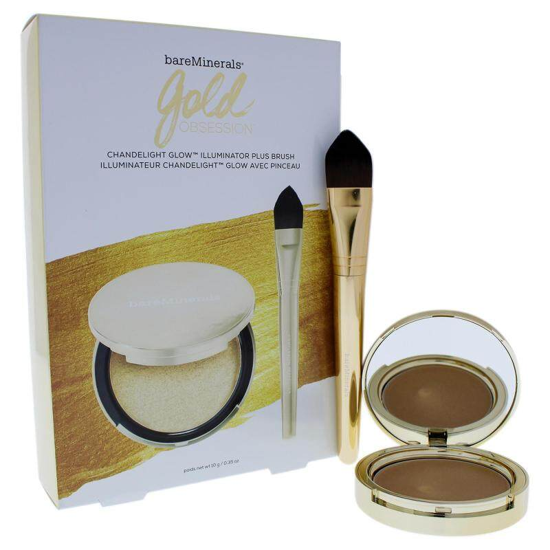 Buy bareMinerals Gold Obsession Set - 2 Pc Set 0.35oz Chandelight Glow Illuminateur, Complexion Perfector Brush Singapore