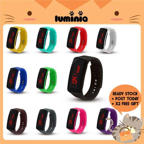READY STOCK LUMINIA MALAYSIA - Rectangle Led Digital Watch Student Sports Electronic Bracelet Watches Jam Tangan Rubber Malaysia