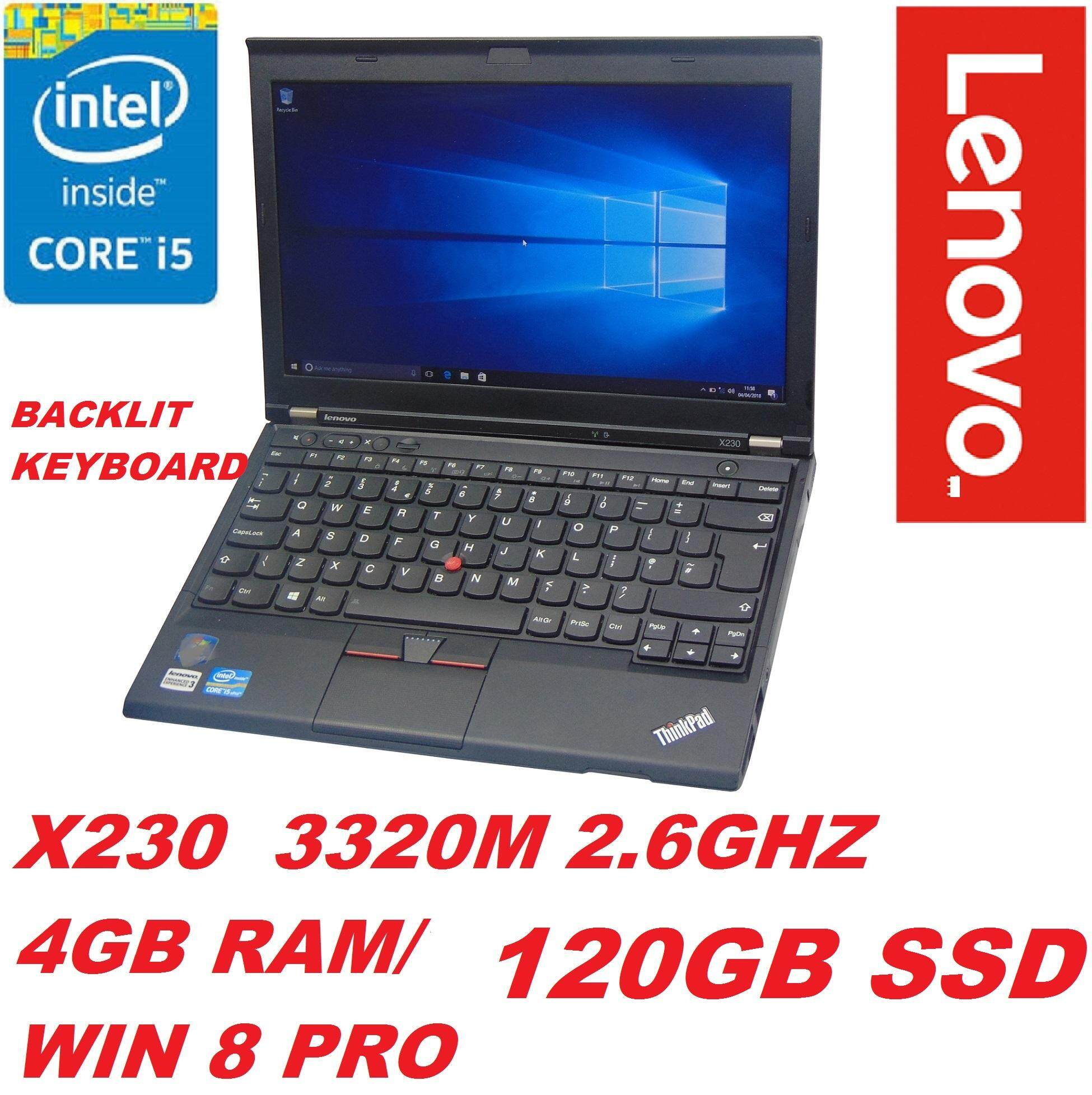 LENOVO THINKPAD X230 INTEL CORE i5-3320M 2.6GHZ 3RD GEN CPU/4GB DDR3 RAM/120GB SSD /INTEL HD GRAPHIC CARD/12.5 ANTIGLARE LED/BUILT IN WEBCAM/WIFI/LAN CARD/WIN 8 Malaysia