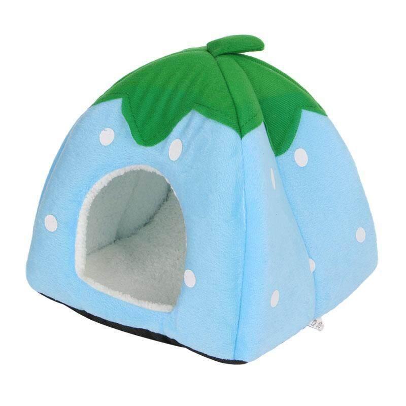 Dễ Thương Dâu Pet Bed Dog Cat Kitten Puppy Cave Nhà Với Mat Có Thể Gập Lại