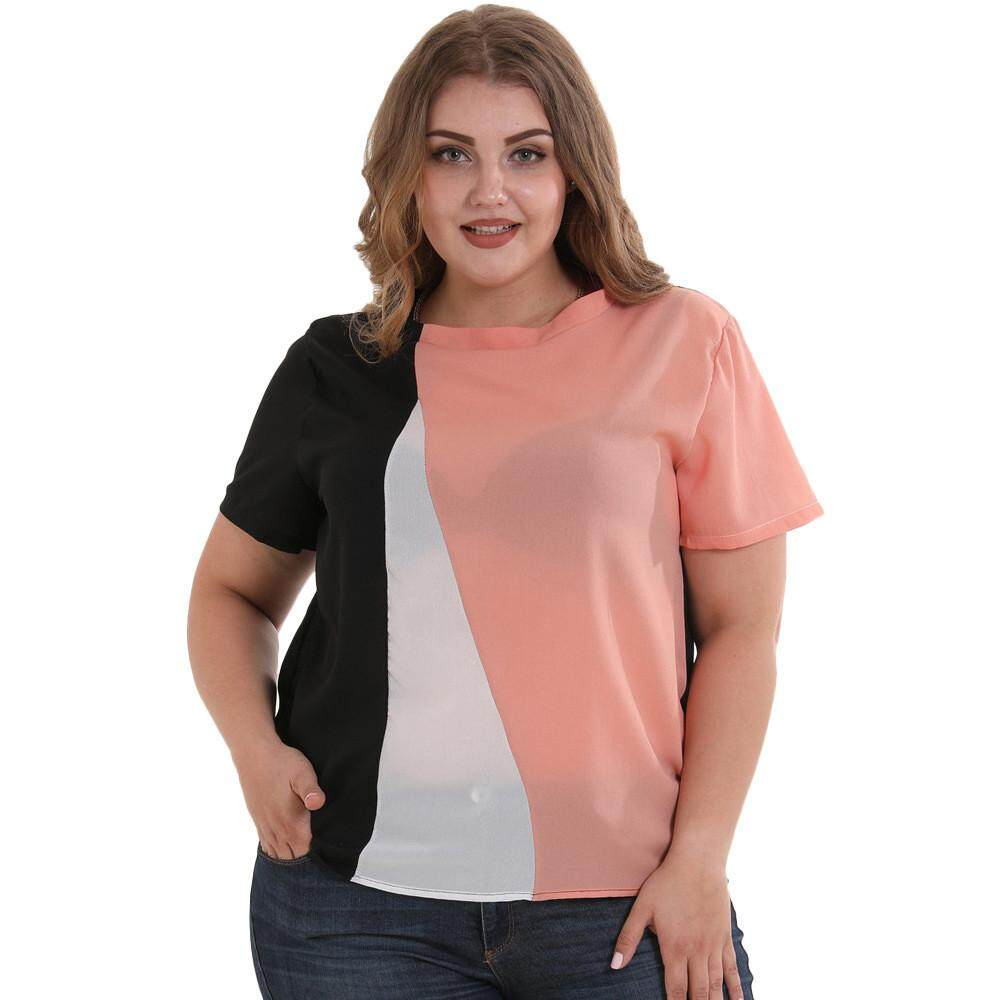 cf5b0acaea6dc 2019 Summer New Women Plus Size Blouse Chiffon short sleeve Patchwork Loose  Tops