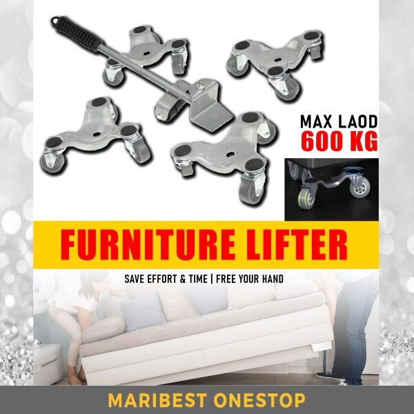 Heavy Duty Furniture Lifter 5pcs/Set Mover Transport Device Tool Max Load 600 kg Wheel Caster Kit