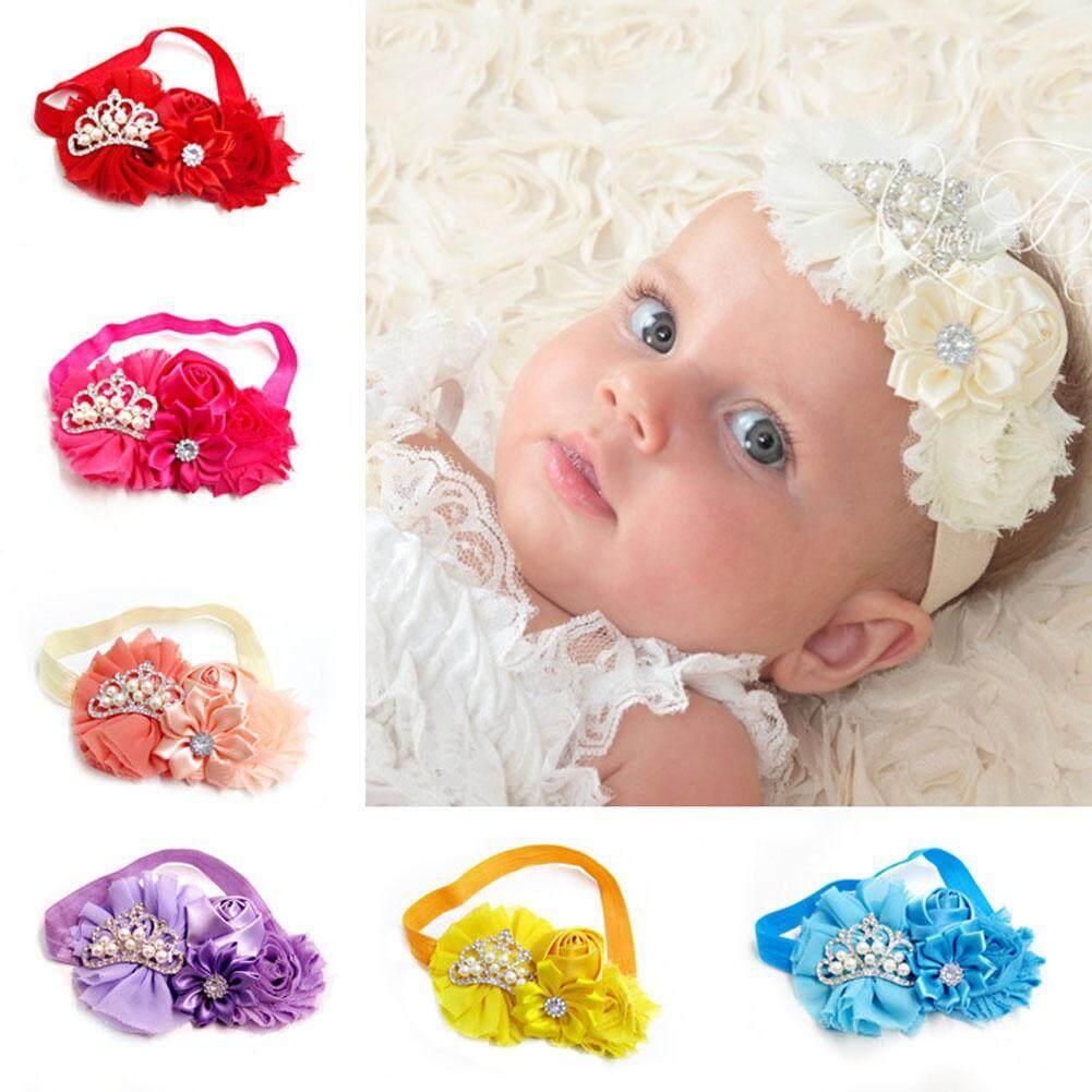 12 Colors Baby Girl Pearl Crown Flower Hairband Children Headband Hairdress