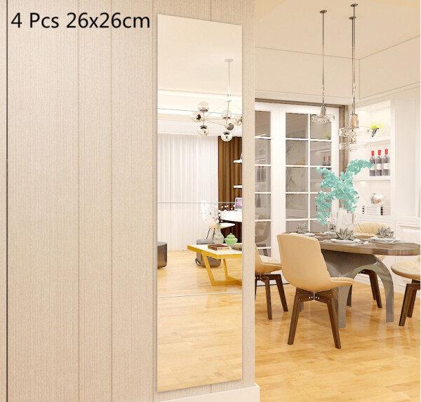 4Pcs Set Full-length Mirror Wardrobe Mirror Bathroom Mirror Dormitory Makeup Mirror Splicing Wall Hanging Entrance Mirror