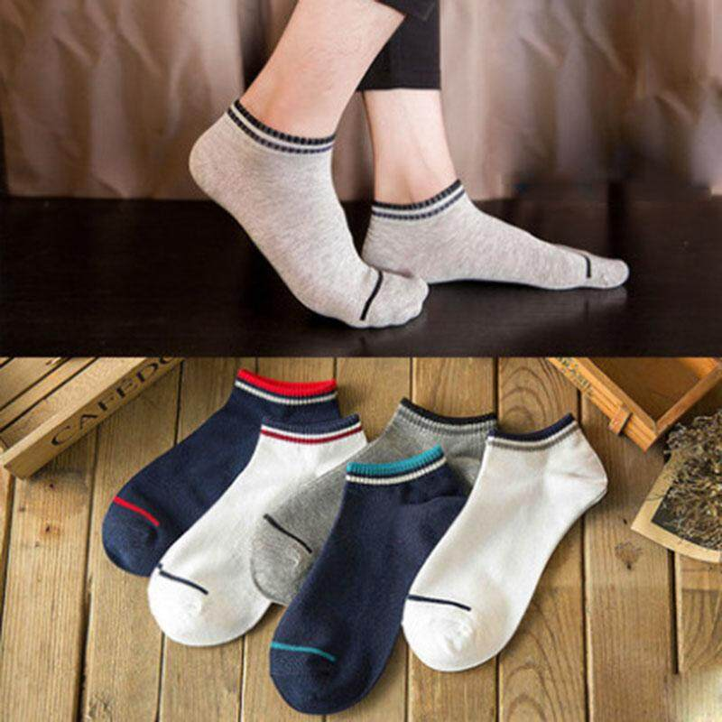 5Pairs/lot Summer Men Ankle Socks Solid Color Striped Casual Cotton Short  Socks