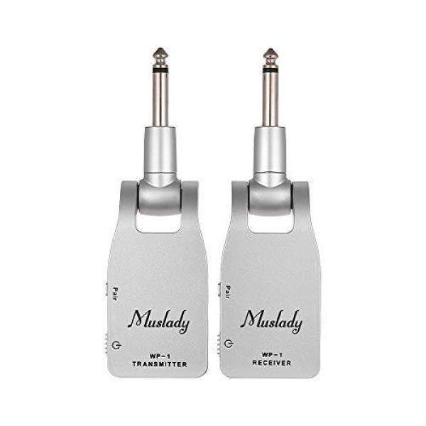 Muslady 2.4GHz Wireless Guitar System Transmitter & Receiver Built-in Rechargeable Lithium Battery 30M Transmission Distance for Electric Guitar Bass (White) Malaysia