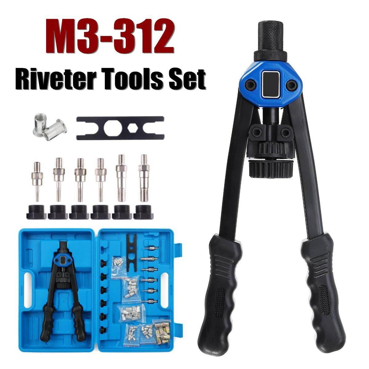Heavy Duty Nut Rivet Riveter Rivnut Nutsert Riveting Kit Thread M3-12 110PCS