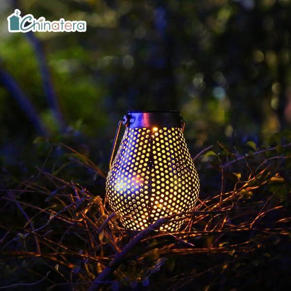 Đèn chiếu bằng năng lượng mặt trời chinatera, Đèn LED treo ngoài trời kiểu cổ điển bằng sắt, chống nước, trang trí lối đi, sân vườn