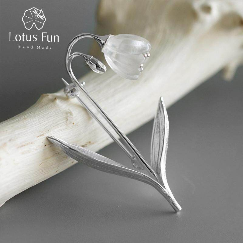Lotus Fun Real 925 Sterling Silver Handmade Fine Jewelry Natural Crystal Lily Of The Valley Flower Brooches For Women.