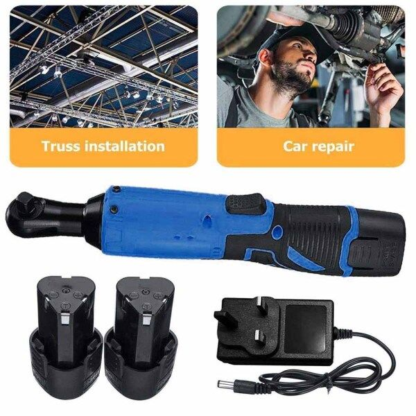 12V 3/8 65Nm Electric Cordless Right Ratchet Angle Wrench LED with Battery