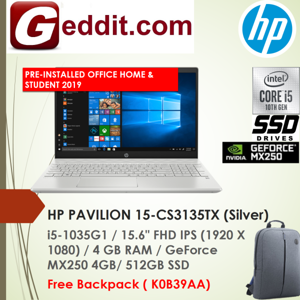 HP PAVILION 15-CS3134TX (Blue) / 15-CS3135TX (Silver) LAPTOP (I5-1035G1,4GB,512GB SSD,15.6 FHD,GeForce MX250 4GB,WIN10 ) FREE BACKPACK + PRE-INSTALLED OFFICE H&S 2019 Malaysia