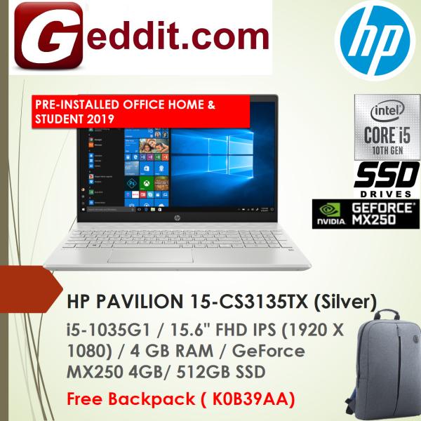 HP PAVILION 15-CS3134TX (Blue) / 15-CS3135TX (Silver) LAPTOP (I5-1035G1,4GB,512GB SSD,15.6 FHD,GeForce MX250 4GB,WIN10 ) FREE BACKPACK + PRE-INSTALLED OFFICE H&S 2019 Malaysia
