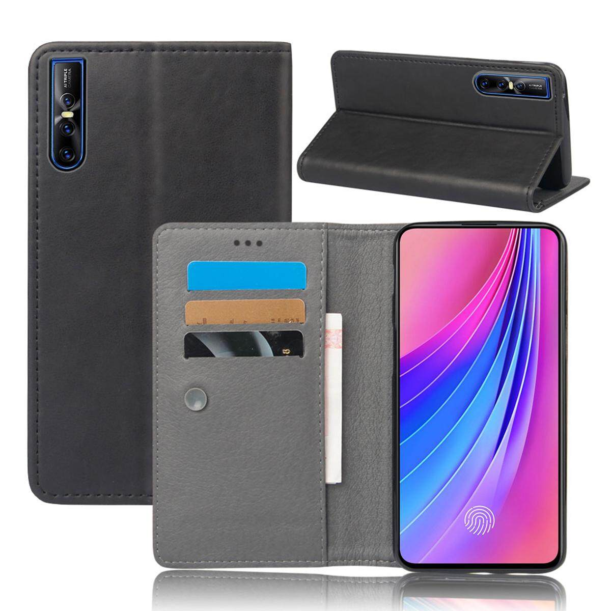 Moonmini Case for Vivo V15 Pro Case PU Leather Slim Fit Magnetic Flip Stand Protective Cover