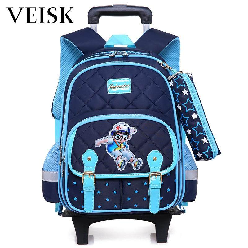 Veisk Primary School Students Rod Bag Girl Removable Children Backpack Three Rounds Tuo La Bao