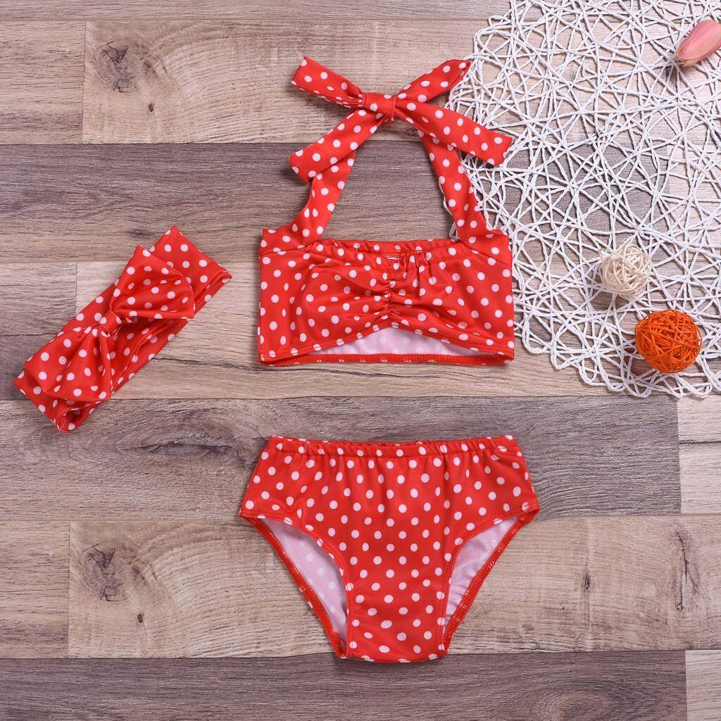 5ba9f74ca MoKiEShop Fashionable and lovely Toddler Kids Girl Dot Bow Two-piece Swimwear  Swimsuit Bathing Suit
