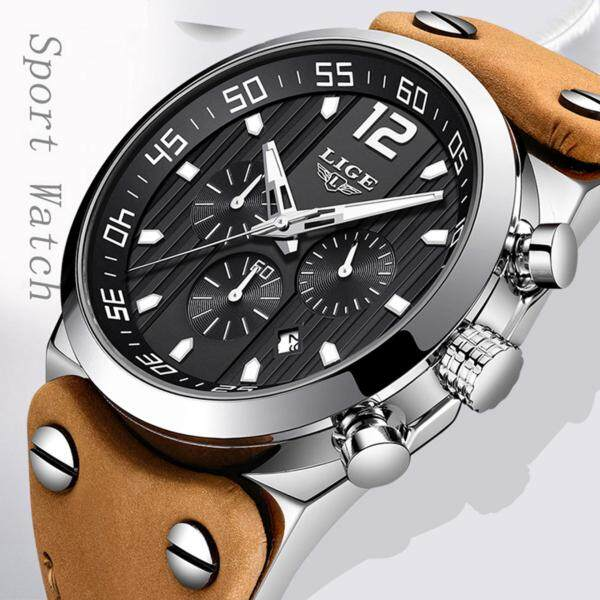 LIGE Mens Watches Military Waterproof Sport Analog Quartz Watch Gents Chronograph Auto Date  Brown Leather Jam Tangan Lelaki Malaysia