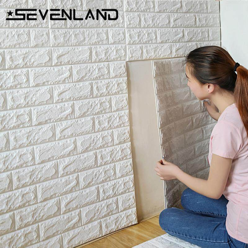 12pcs/Set x 70x77cm PE Foam 3D Wall Stickers Safety Home Decor Wallpaper DIY Wall Decor Brick Living Room Kids Bedroom Decorative Sticker