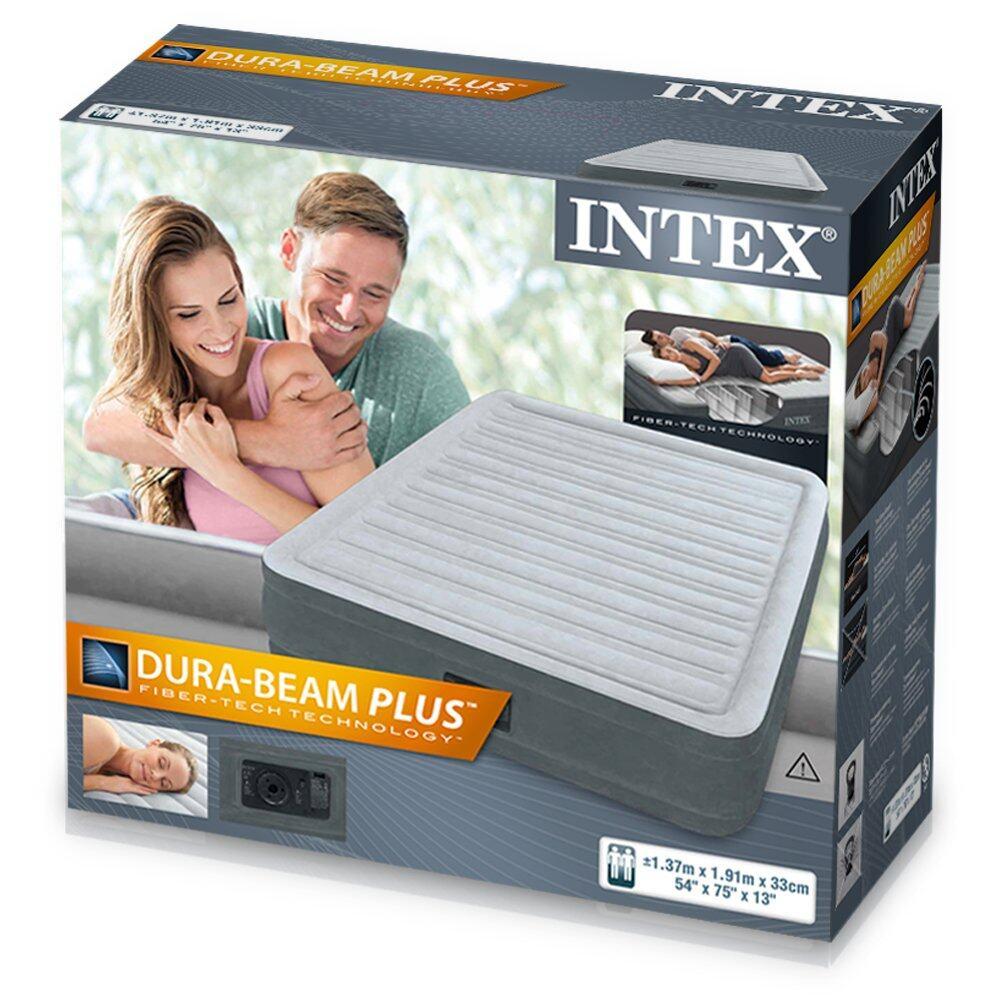 Intex Fiber Tech Dura Beam Plus Queen (1.37 Width) with Built In Pump, Air Mattress, Inflatable Air Bed, Mattress