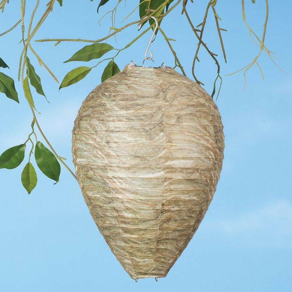 Malonestore 2Pcs Wasp Deterrent Yellowjackets Bee Hornets Fake Wasp Nest Simulated Deterrent